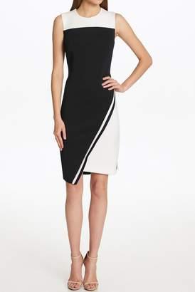 Iconic American Designer Asymmetrical Colorblock Sleeveless Dress