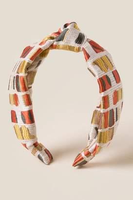 francesca's Anna Mosaic Satin Headband - Beige