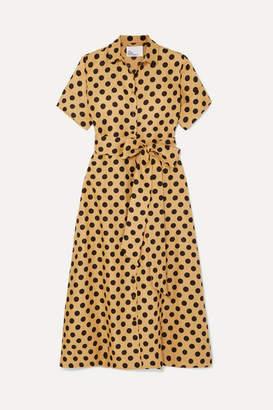 Lisa Marie Fernandez Polka-dot Linen Midi Dress - Sand