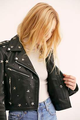 Understated Leather Star Studded Mercury Cropped Jacket