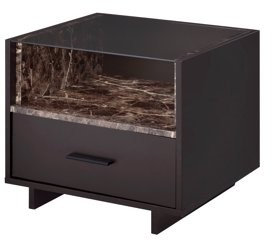 ACME Furniture ACME Dayle 1 Drawer Nightstand in Espresso and Faux Marble
