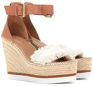See by Chloe Leather and canvas wedge sandals