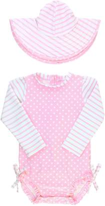 RuffleButts Ruffle Butts Polka Dot One-Piece Rashguard Swimsuit & Sun Hat Set