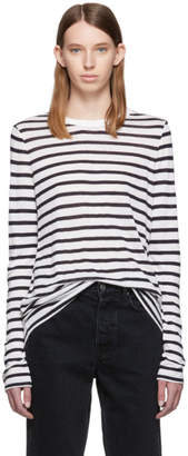 Alexander Wang White and Navy Striped Slub Long Sleeve T-Shirt