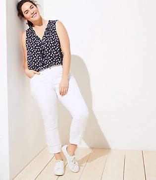 LOFT Plus Modern Cuffed Straight Leg Jeans in White