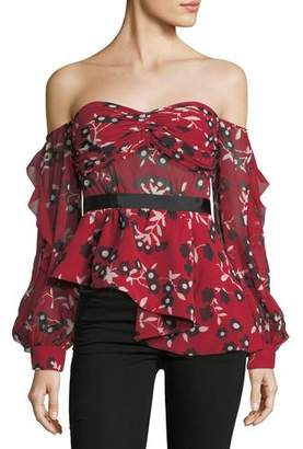 Self-Portrait Off-the-Shoulder Floral-Print Peplum Top