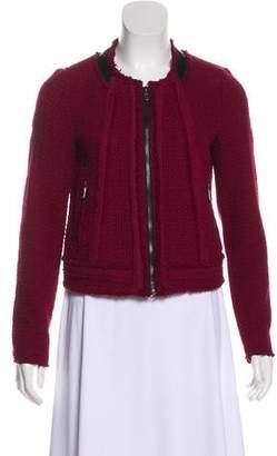 Rebecca Taylor Rib Knit Zip-Up Blazer