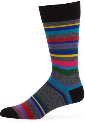 Paul Smith Men's Aster Striped Cotton-Blend Socks
