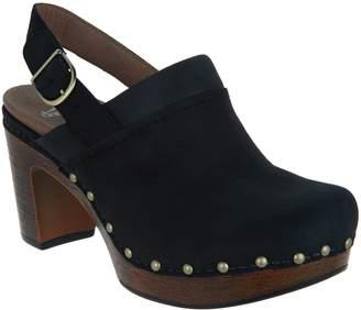 Dansko Nubuck Leather Block Heel Clogs - Delle