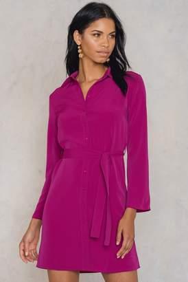 Trendyol Tie Waist Shirt Dress Burgundy