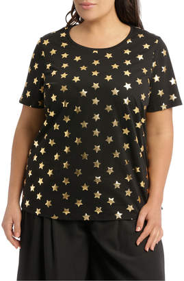 Essential Tee Black/Gold Foil Star R4010WO