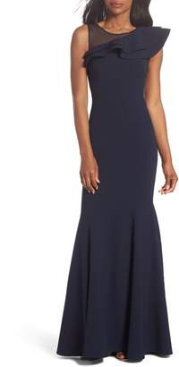 Eliza J Asymmetrical Ruffle Gown