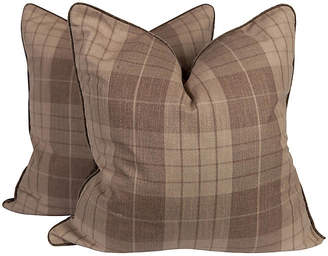One Kings Lane Vintage Plaid & Velvet Whittington Pillows - Set of 2