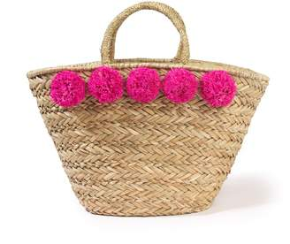 La Redoute COLLECTIONS Woven Straw Basket Bag with Pompoms