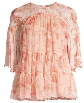 Kate Spade Madison Avenue Nari Chinoiserie Silk Blouse