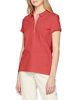 Gant Women's Contrast Collar Ss Pique Shirt,10 (Size: S)
