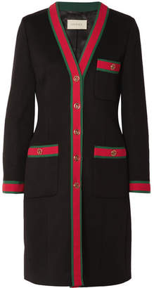 Gucci Grosgrain-trimmed Wool Coat - Black