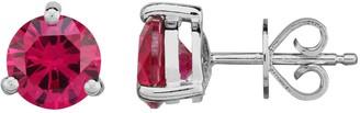 Unbranded Sterling Silver Lab-Created Ruby Stud Earrings