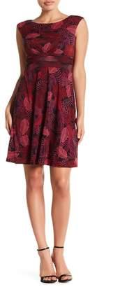 London Times Leaf Printed Boatneck Dress (Petite)