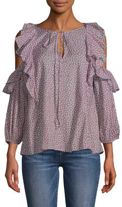 French Connection Cold-Shoulder Ruffle Blouse