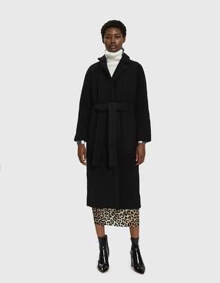Ganni Fenn Long Wrap Coat in Black