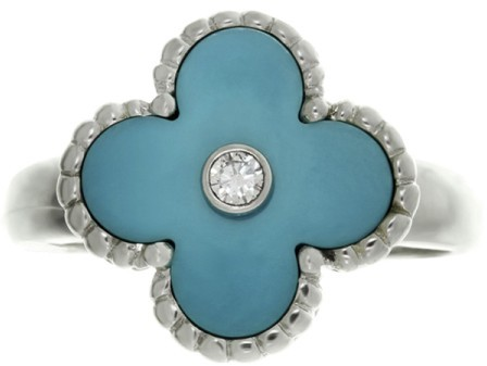 Van Cleef & ArpelsVan Cleef & Arpels 18K White Gold Alhambra Turquoise Diamond Ring Size 6.0