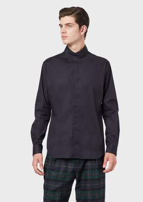 Emporio Armani Stretch Cotton Shirt With Mandarin Collar