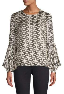 Milly Holly Chain Print Bell Sleeve Top