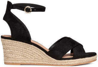 H&M Wedge-heel Sandals - Black