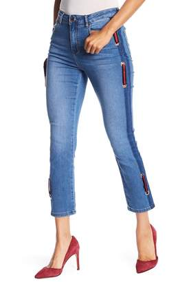 Romeo & Juliet Couture Striped Insert Straight Leg Crop Jeans