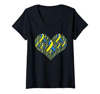 Womens Down Syndrome Awareness The Lucky Few Heart V-Neck T-Shirt