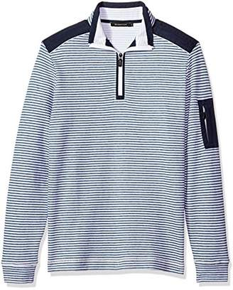 Bugatchi Men's Long Sleeve Printed Stripe Heather Cotton Pullover