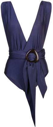 PatBO belted plunge swimsuit