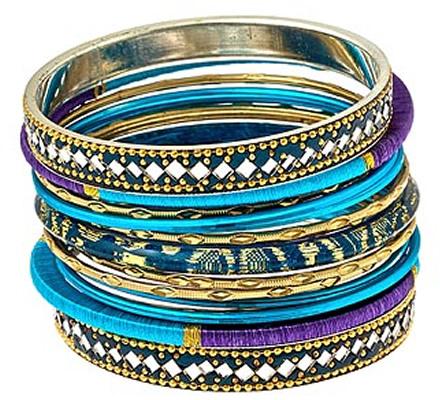 Blu Bijoux Blue Mixed Media Stackable Bangle Bracelets