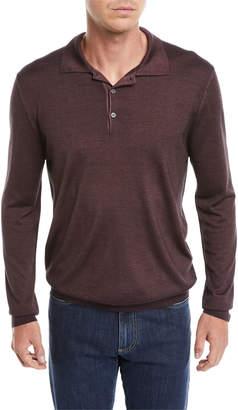 Canali Men's Long-Sleeve Wool/Silk Polo Shirt, Burgundy