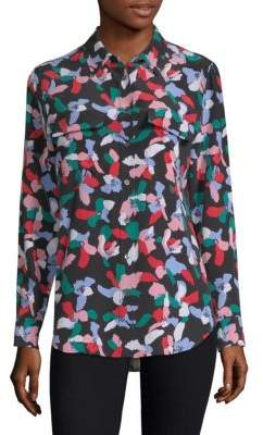 Equipment Silk Floral-Print Blouse