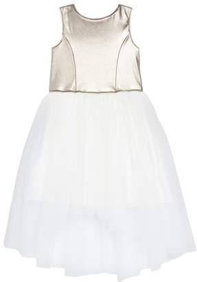 Zunie Metallic High/Low Tulle Dress