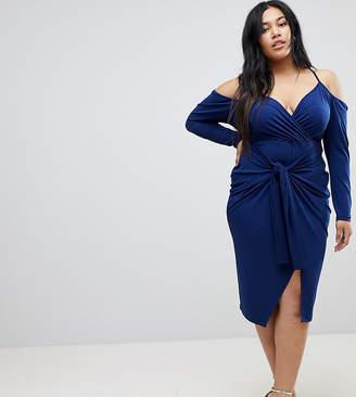 Asos Slinky Wrap Cold Shoulder Midi Dress