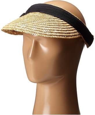 San Diego Hat Company WSV0005 4 Inch Brim Straw Clip On Visor with Bow Casual Visor