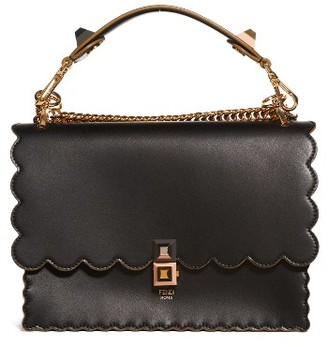 Fendi Kan I Scallop Leather Shoulder Bag - Black $2,250 thestylecure.com