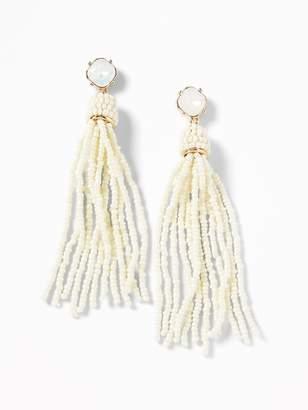 Old Navy Crystal Beaded Tassel Earrings for Women