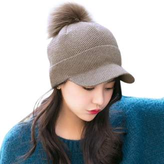 86f10f9a63f Siggi Comhats Wool Knitted Newsboy Cap Pom Beanies with Visor Bill Cold  Weather Winter Hat Ladies