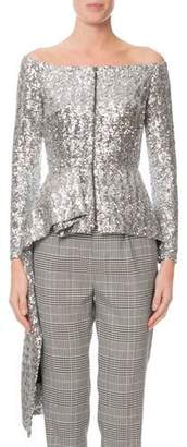 Roland Mouret Endfield Off-The-Shoulder Sequined Fit & Flare Jacket