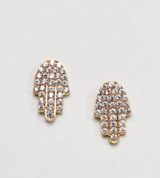 Ottoman Hands Gold Plated Rhinestone Hamsa Hand Stud Earrings