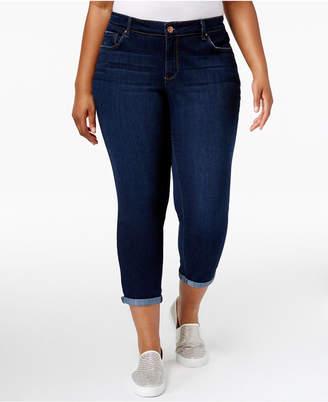 Jessica Simpson Trendy Plus Size Royal Wash Cuffed Skinny Jeans