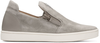 Giuseppe Zanotti Grey Suede London Slip-On Sneakers $650 thestylecure.com