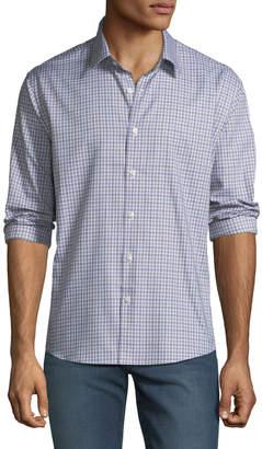 Neiman Marcus Men's Slim-Fit Regular-Finish Twill Check Sport Shirt
