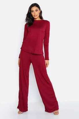 boohoo Tall Long Sleeve Knitted Rib Co-Ord