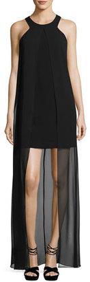 Trina Turk Beacon Sleeveless Mini Dress w/ Overlay, Black $368 thestylecure.com