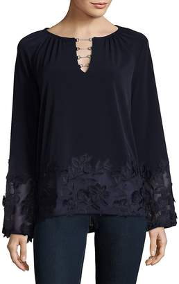 Elie Tahari Women's Embroidered Bell Sleeve Top